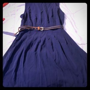 Navy blue dress  with blue  belt from XXI size L